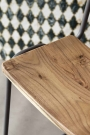 Close-up of the wooden seat on the Soho Bar Stool
