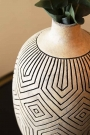Close-up image of the neck of the Stone & Black African Ceramic Bottle Vase
