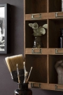 Lifestyle close-up of the corner of the Traditional Pigeon Hole Wooden Storage Wall Unit