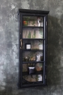 Tall & Slim Distressed Black Wall Cabinet with Botanical Lining
