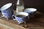 Lifestyle image of the Set Of 4 Pretty Indigo Blue & White Teacups