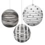 Set Of 3 Foil Globe Decorations - Silver