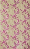 detail image of Barneby Gates Paisley Wallpaper - Hot Pink on Tea Stain pink oriental style pattern on pale brown background