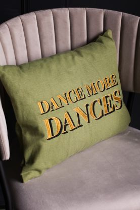 Image of the Dance More Dances Embroidered Green Cushion