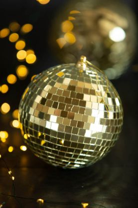 Close-up image of the Gold Disco Ball Bauble Christmas Tree Decoration