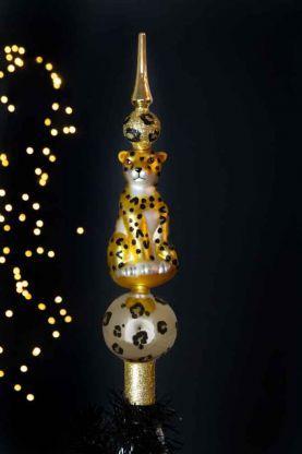 Image of the Gold Leopard Christmas Tree Topper