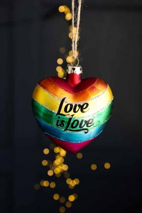Lifestyle image of the Love Is Love Rainbow Heart Hanging Decoration
