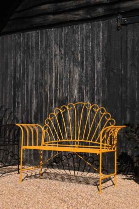 Angled image of the Sunflower Yellow Metal Garden Bench