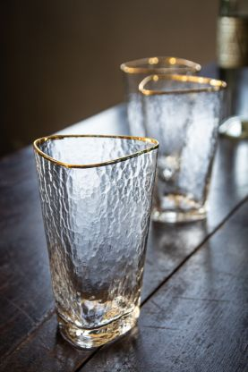 Image of the Organic Highball Glass With Gold Rim