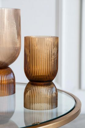 Image of the Small Ombre Brown Vase & Candleholder