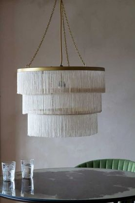 Lifestyle image of the Three-Tier Fringe Chandelier