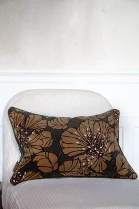 Lifestyle image of the Khaki Green Dahlia Velvet Printed Cushion