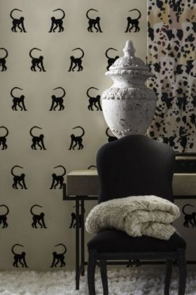 Andrew Martin Cheeky Monkey Wallpaper - Ebony - ROLL