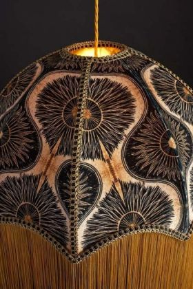 detail image of Anna Hayman Designs DecoFabulous Gold & Black Bibana Lamp Shade turned on with dark wall background