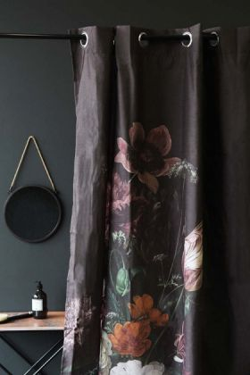 lifestyle image of Black Floral Shower Curtain with gold side table and hanging wall mirror