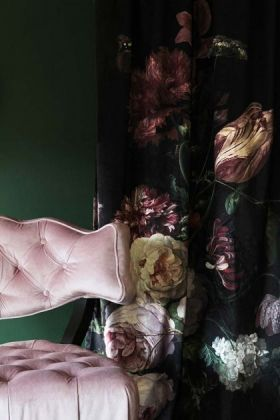 lifestyle image of Black Floral Velvet Curtain with Cloud Velvet Chair - Blush Pink and dark green wall background