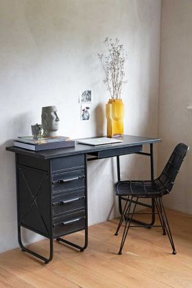 Lifestyle image of the Industrial-Style Rustic Metal Desk