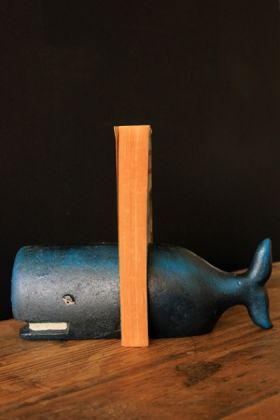 cast iron pair of whale bookends lifestyle image