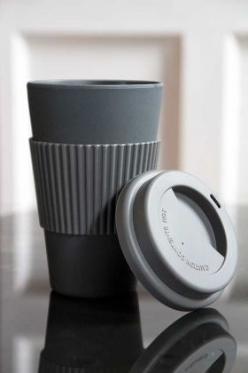 Image of the Dark Grey Travel Mug with the lid off