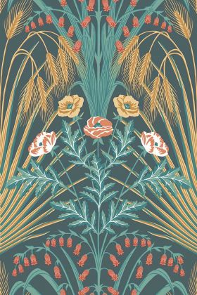 Cole & Son Botanical Botanica - Bluebell Wallpaper - Teal, Metallic Gold & Coral On Petrol 115/3010 - ROLL