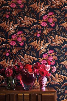 Cole & Son Botanical Botanica - Rose Wallpaper - Cerise & Burnt Orange On Black 115/10029 - ROLL