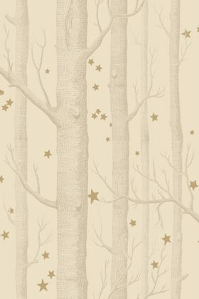 detail image of Cole & Son Whimsical Collection - Natural Woods & Stars Wallpaper - Buff & Gold 103/11049 - ROLL nude tree trunks and small gold stars on pale yellow backround