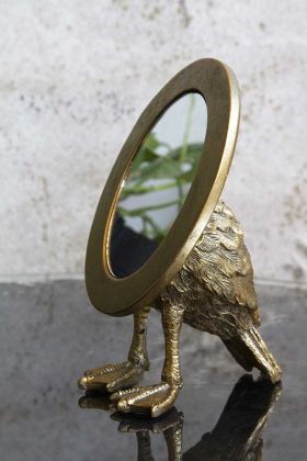Lifestyle image of the Antique Gold Duck Feet Vanity Mirror