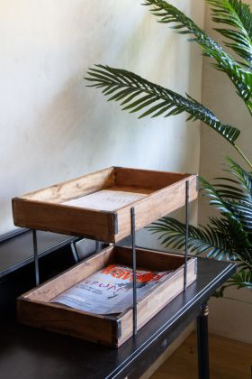 Lifestyle image of the Unique Double Decker Tray Unit Made From Recycled Wood