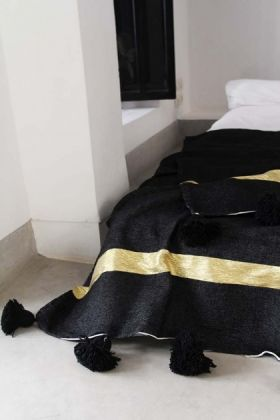 Cotton Pom Pom Blanket 200x300cm - Black With Gold Stripe