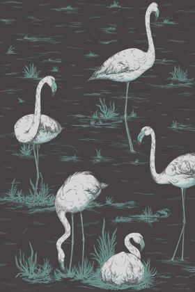 Close-up detail image of Cole & Son Contemporary Restyled - Flamingos Wallpaper - White on Coal white flamingos in green grass patches on coal grey background