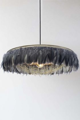 lifestyle image of Fabulous Feather Chandelier Featuring Chains - Gloria - Grey with white wall background