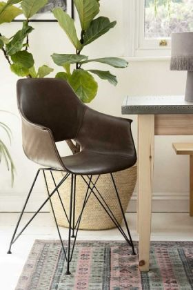 Faux Leather Dining Chair With Black Hairpin Legs - Brown