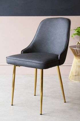 Faux Leather Dining Chair With Brass Legs - Charcoal Grey