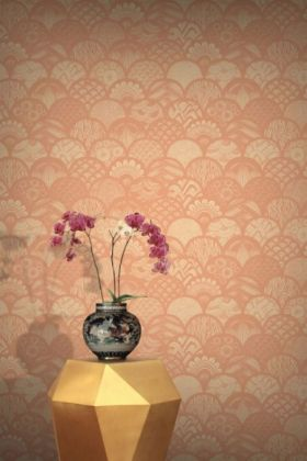 Feathr Silver Feathers Wallpaper - Terracota - ROLL