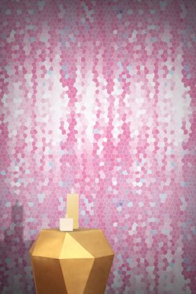 lifestyle image of Feathr Firefly Wallpaper - Rose - ROLL with gold side table and candles on top