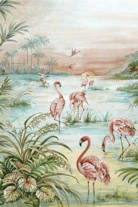 Flamingo Chinoiserie Wallpaper Mural - Aloe 7900131 - MURAL