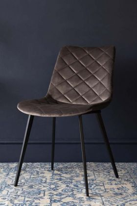 Gala Velvet Dining Chair - Mushroom