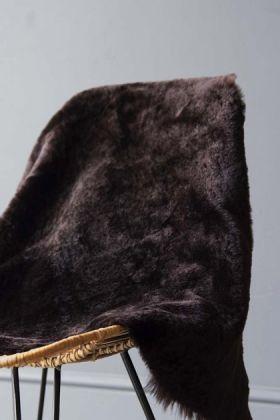 Genuine Shearling Sheepskin Rug - Dark Brown