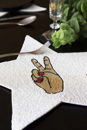 Glamorous Star Beaded Placemat - Peace Hand