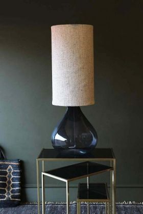Glass Decanter Table Lamp With Natural Hessian Shade