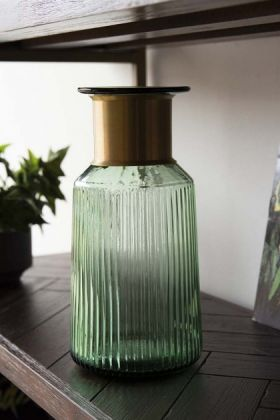 Gold Neck Green Tinted Glass Bottle Vase