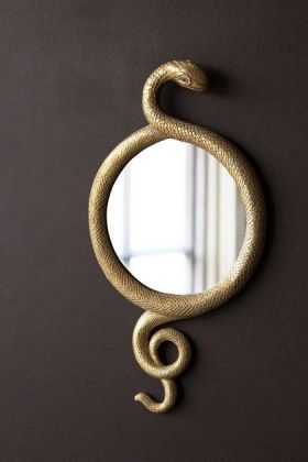 Lifestyle image of the Gold Snake Wall Mirror hanging on the wall painted in briarwood