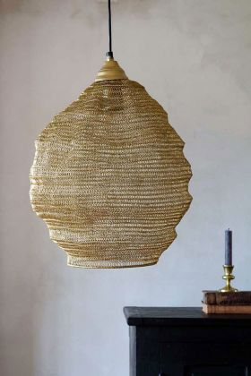 Lifestyle image of the Antique Gold Metal Mesh Pendant Ceiling Light