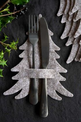 Close-up image of the Set Of 5 Grey Felt Christmas Tree Napkin/Cutlery Holders