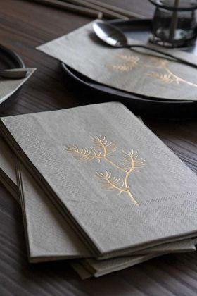 Lifestyle image of the Pack Of 20 Silver Grey Paper Napkins with Gold Floral Design