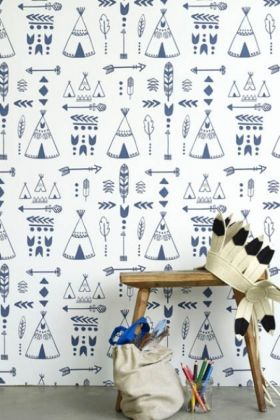 Hibou Home Teepees, A Tribal Gathering Children's Wallpaper - Indigo/White HH01002 - ROLL