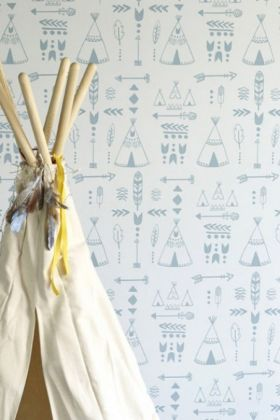 Hibou Home Teepees, A Tribal Gathering Children's Wallpaper - Storm Green/Grey HH01001 - ROLL
