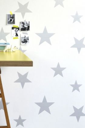 Hibou Home Wish Upon A Star Children's Wallpaper - Silver/White HH00802 - ROLL