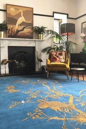 Lifestyle image of the Wendy Morrison Jardin De Chinois Hand Knotted Wool & Silk Rug - 305cm x 427cm
