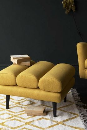 Jive Herringbone Tweed Footstool  - Mustard